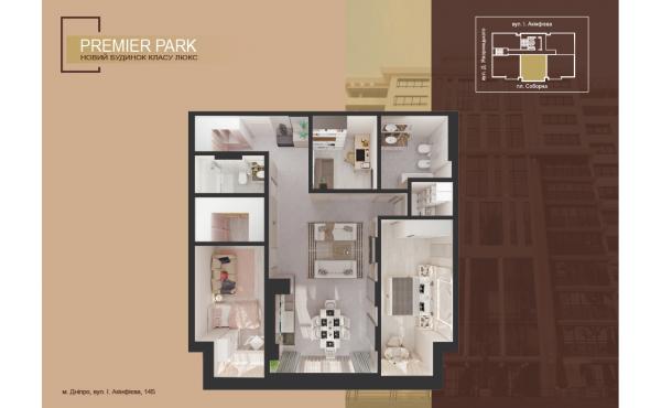3 ком квартира студия в новом доме ЖК Premier Park р-н парка им. Шевченко